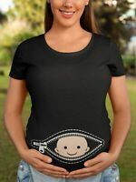 Womens MATERNITY T-Shirt - BABY Peeping Belly - Funny Pregnancy Clothing Gift