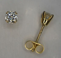 0.15CT GENUINE DIAMOND STUD EARRINGS YELLOW GOLD 4 CLAW