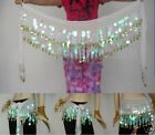 SHINING Sequins& Gold Coins Belly Dance Hip Scarf Belt Skirt White India Dance