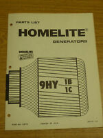 VINTAGE HOMELITE 9HY 1B 1C GENERATOR PARTS MANUAL NO. 24712