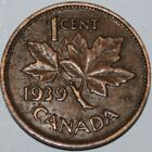 Canada 1939 1 Cent Copper Coin One Canadian Penny Nice
