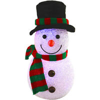 22cm Light Up Battery EVA Snowman With Hat & Scarf Festive Christmas Decoration
