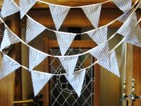 Blue gingham fabric bunting baby shower, wedding, party, 38 flags, 10 mt