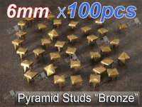 6mm Bronze Metal Pyramid Studs Leathercraft DIY Goth Punk Spikes Spots x100 pcs