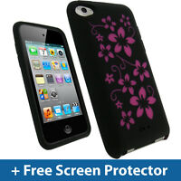 Black Flower Skin Case for Apple iPod Touch 4th Gen 4G 8/32/64GB iTouch Silicone