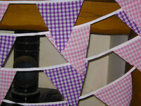 Fabric bunting pink & purple gingham 38 flags 10 mt wedding, party, baby shower,