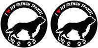 """(2) I love my French Spaniel dog ROUND bumper vinyl stickers decals 4"""" x 4"""""""