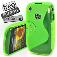 GREEN WAVE S LINE GEL CASE COVER POUCH FOR BLACKBERRY 8520 CURVE 9300 CURVE
