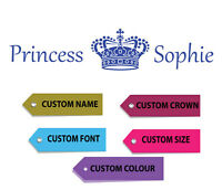 Personalised Princess Wall Sticker Decal Vinyl Custom Name Wallart kids Children