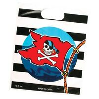 8 PIRATE SKULL JOLLY ROGER Plastic Party Loot Bags Kids Goody Favor Treat Supply