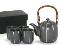 5 PCS. Japanese Tea Pot & Cups Set Strainer Black Tokusa Authentic Made in Japan