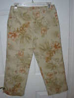 WOMENS BAMBOO TRADERS BEIGE WITH FLORAL PRINT CROPPED PANT SZ 2