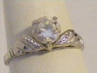 Vintage Antique Estate~LIND White Topaz Sterling Silver Filigree Ring Size 7.5