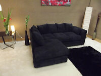 DYLAN JUMBO CORD BLACK FABRIC CORNER GROUP SOFA (LEFT HAND)