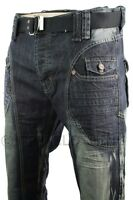 Mens Dark Blue Washed Crease Design Jeans Straight Cut Free Belt