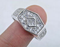 Fashion Men's ring Micro Pave Prong Set AAA Hip Hop CZ Plated Silver Ring BJ17
