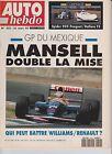 AUTO HEBDO N°822.1992. GP MEXIQUE.ESSAI BMW 325 I. MATCH ZX VOLCANE GOLF GTI