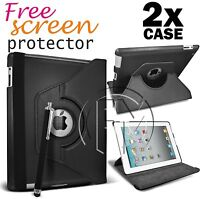 2X BLACK 360 TURN LEATHER CASE STAND CASE COVER FOR THE NEW IPAD 3 IPAD 2