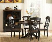 CASUAL COUNTRY WHITE OR BLACK DINING TABLE & CHAIRS DINING ROOM FURNITURE SET