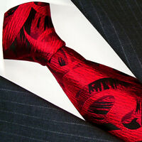84485 LORENZO CANA ITALIAN PURE SILK TIE red black necktie paisleys 100% silk