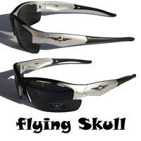 Men Flying SKULL Sunglasses Motor-Cycle Golf Sports Baseball SILVER
