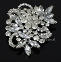 1 X CLEAR RHINESTONE CRYSTAL SHINY BROOCH PIN FOR JEWELRY BRIDAL DECORATIONS