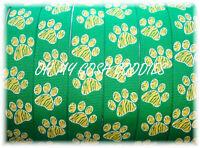 7/8 GREEN YELLOW TIGER STRIPE PAW CHEER GROSGRAIN RIBBON CHEER BOW FOOTBALL 5YD