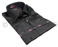 Mens Italian Design Black Silk Satin Finish Shirt Smart Slim Fit