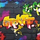 NEW LUXURY RASCH KIDS CLUB GRAFFITI TAGS SPRAYCAN STREET ART CHILDRENS WALLPAPER
