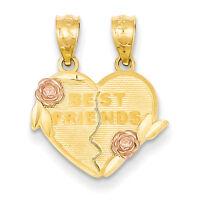14k Two-tone Best Friends break apart Heart Charm Pendant 19mmx16mm
