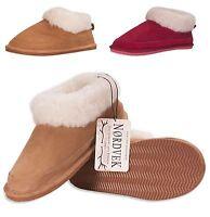 Nordvek Ladies Slippers Genuine Suede Sheepskin Wool Blend Real Womens 440-100
