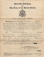 US ARMY HONORABLE DISCHARGE VINTAGE MILITARY DOCUMENT