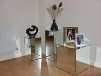 STUNNING 'GLASS' MIRROR CUBES / SIDE TABLES - 3 SIZES TO CHOOSE FROM