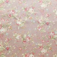 Floral Rose cotton Poplin print Fabric Vintage Style Dusky Pink w Green & Cream