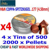 H&N COPPA COPPER POINT .177 4.50mm Airgun Pellets 4(tins)x500pcs HUNTING
