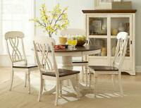 CASUAL COUNTRY WHITE DINING TABLE & CHAIRS DINING ROOM FURNITURE SET