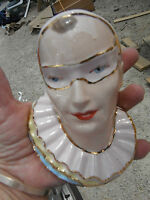VINTAGE masked face WALL POCKET,sophisticated masquerade head vase type planter