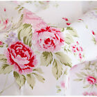 White Large Floral Cotton Bedding Sheeting Curtain Homeware Craft Shabby Fabric