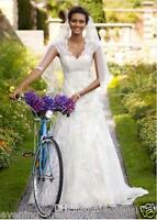 New Style Cap Sleeves lace Wedding Dress Bridal Gown Size 6 8 10 12 14 16 18 20