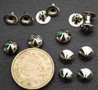 500x 8mm Single Cap CONE RIVETS Leather Silver Tone Denim Leather Craft DIY