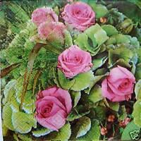3 oder 5 Servietten Blumen rosa rote kleine Rosen Rose shabby 1/4
