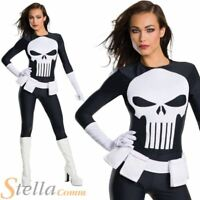 Ladies Punisher Costume Sexy Halloween Fancy Dress Comic Book Super Hero Outfit