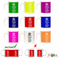 Personalised Keep Calm And Carry On Custom Tea Coffee Mug Cup Novelty Gift Text