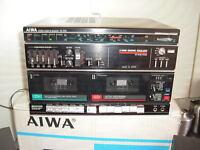 AIWA HIFI SYSTEM TUNER V150 SPEAKERS RECORD DECK TURNTABLE TAPE RECORDER, RADIO