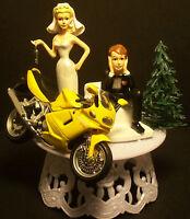 MOTORCYCLE DUCATI ST4s Yellow Racing Bike WEDDING CAKE TOPPER Funny Bride's Key
