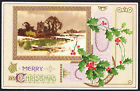 A0383cgt Greetings Merry Christmas holly vintage postcard