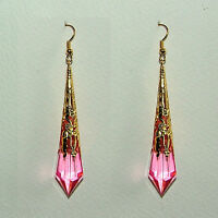 8.5cm LONG PINK VICTORIAN STYLE EARRINGS GOLD PLATED FILIGREE ACRYLIC FP
