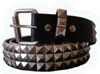 GOTH PUNK SILVER STUD STUDDED BLACK SNAP ON BELT M 34 NEW