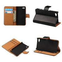 For Sony Xperia Black Luxury PU Leather Wallet Card Holder Flip Cover Stand Case