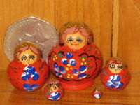 Russian Nesting Doll 5 RED Tiny Miniature Hand Painted Babushka Matryoshka House